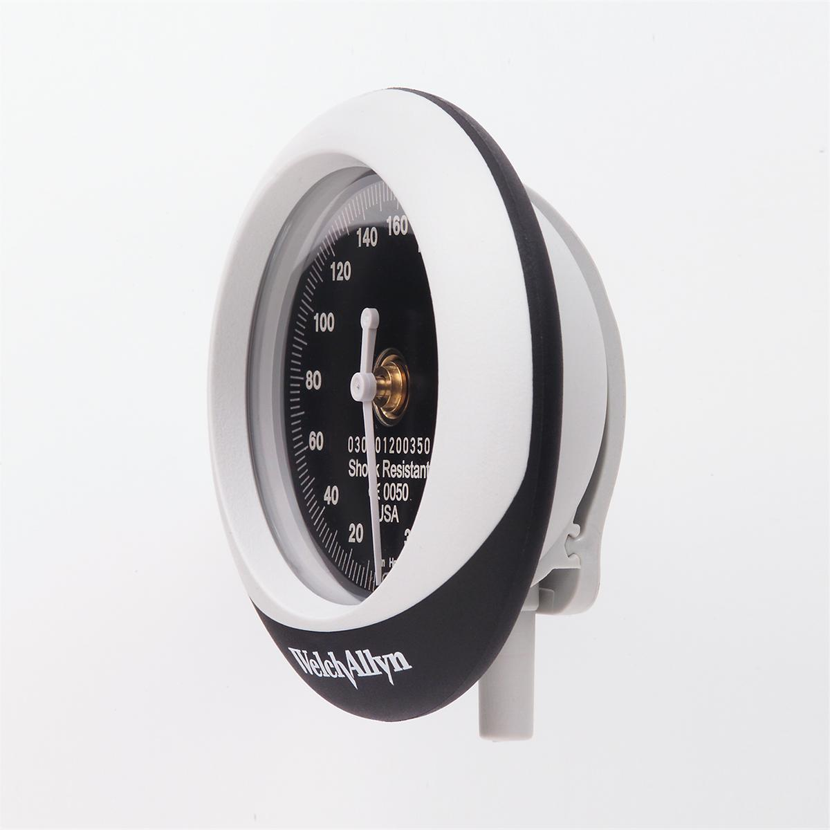 Detail view of a black Welch Allyn Silver Series DS45 Aneroid's gauge with white trim.