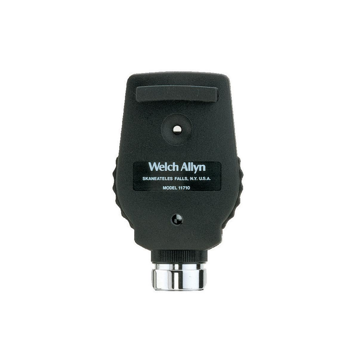 Clinician-side view of a Welch Allyn 3.5V Standard Ophthalmoscope, showing its comfortable brow rest and viewing window.