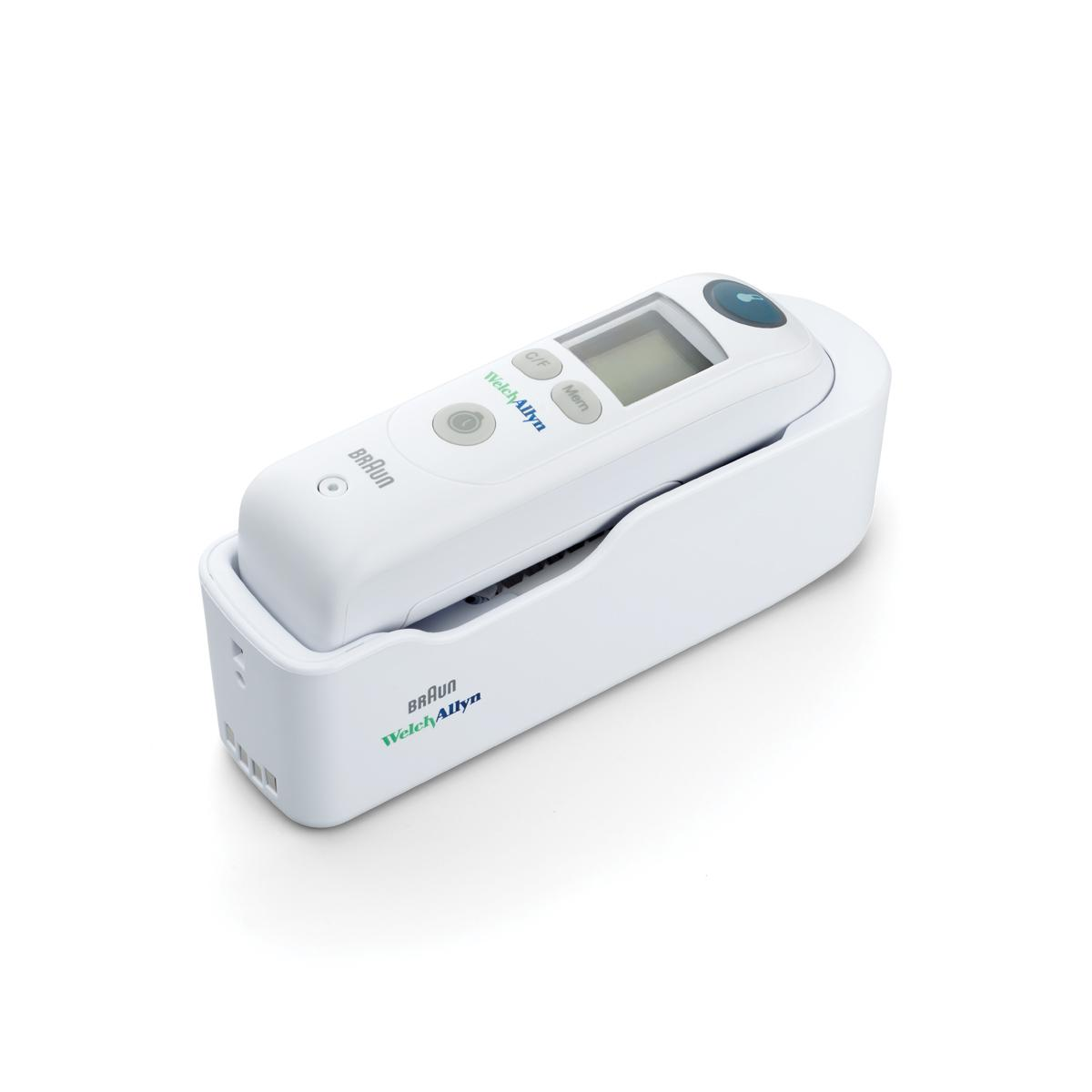 Braun ThermoScan PRO 6000 Ear Thermometer in cradle, 3/4 view, right side