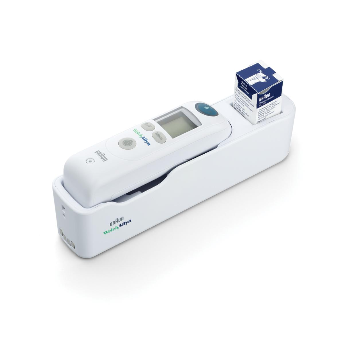 Braun ThermoScan PRO 6000 Ear Thermometer in cradle with box of probe covers, 3/4 view, right side