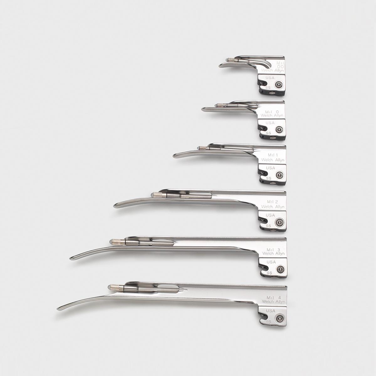 Six Standard (Lamp) Laryngoscope System Miller blades of various length