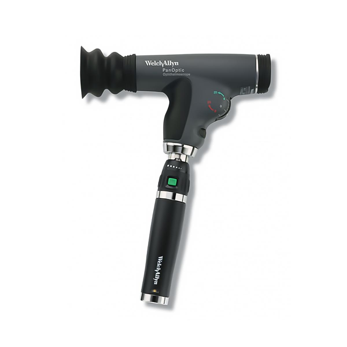 PanOptic Ophthalmoscope, side view, mounted on lithium-ion handle