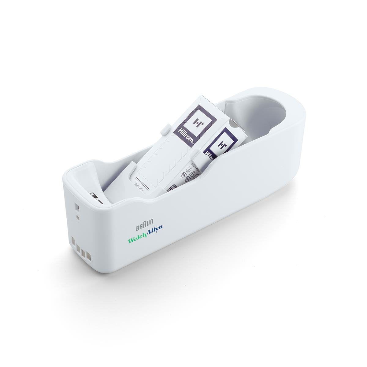 Braun ThermoScan PRO 6000 Ear Thermometer probe covers in cradle storage, 3/4 view, right side