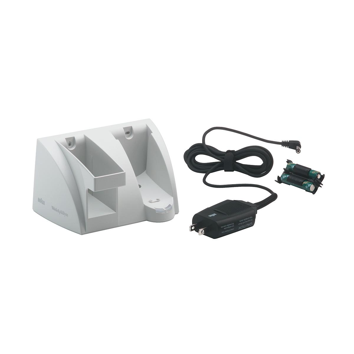 A charging cradle for the Welch Allyn Welch Braun ThermoScan PRO 4000. The unit has a black, detachable power source