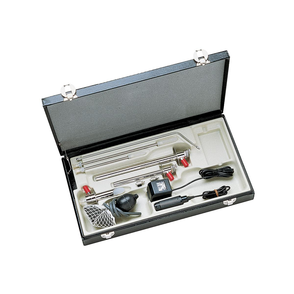 A Welch Allyn Fiber-Optic Sigmoidoscope set in its carry case, featuring separate chambers for scopes, insufflation bulb and power supplies.