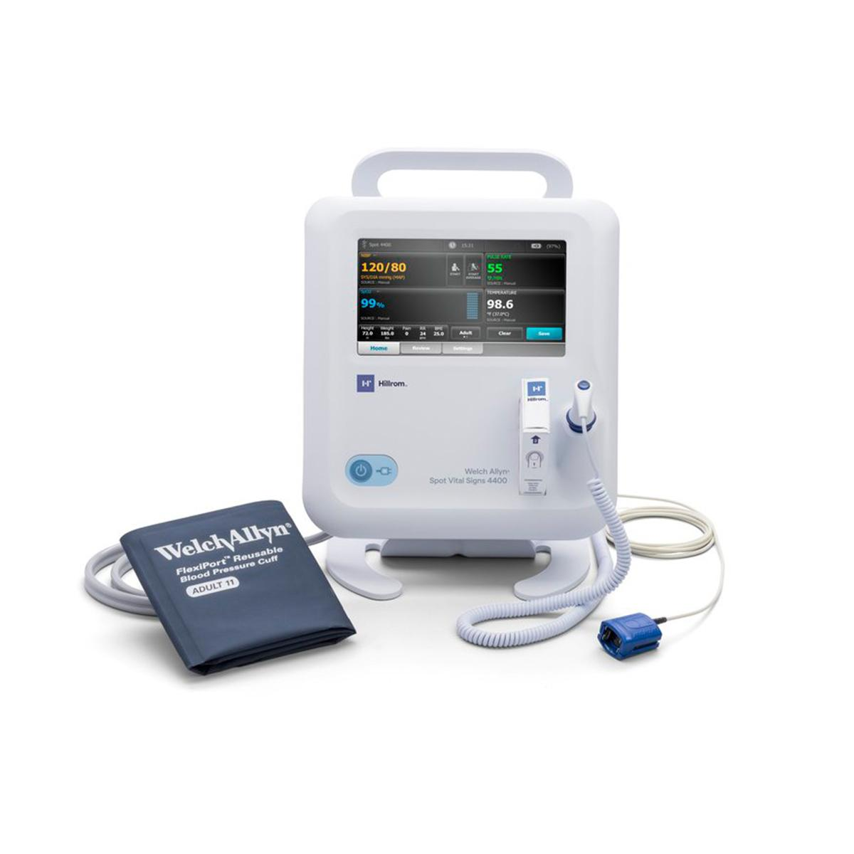 A Spot Vital Signs® 4400 Device with pulse oximeter, digital thermometer and blood pressure cuff attachments.