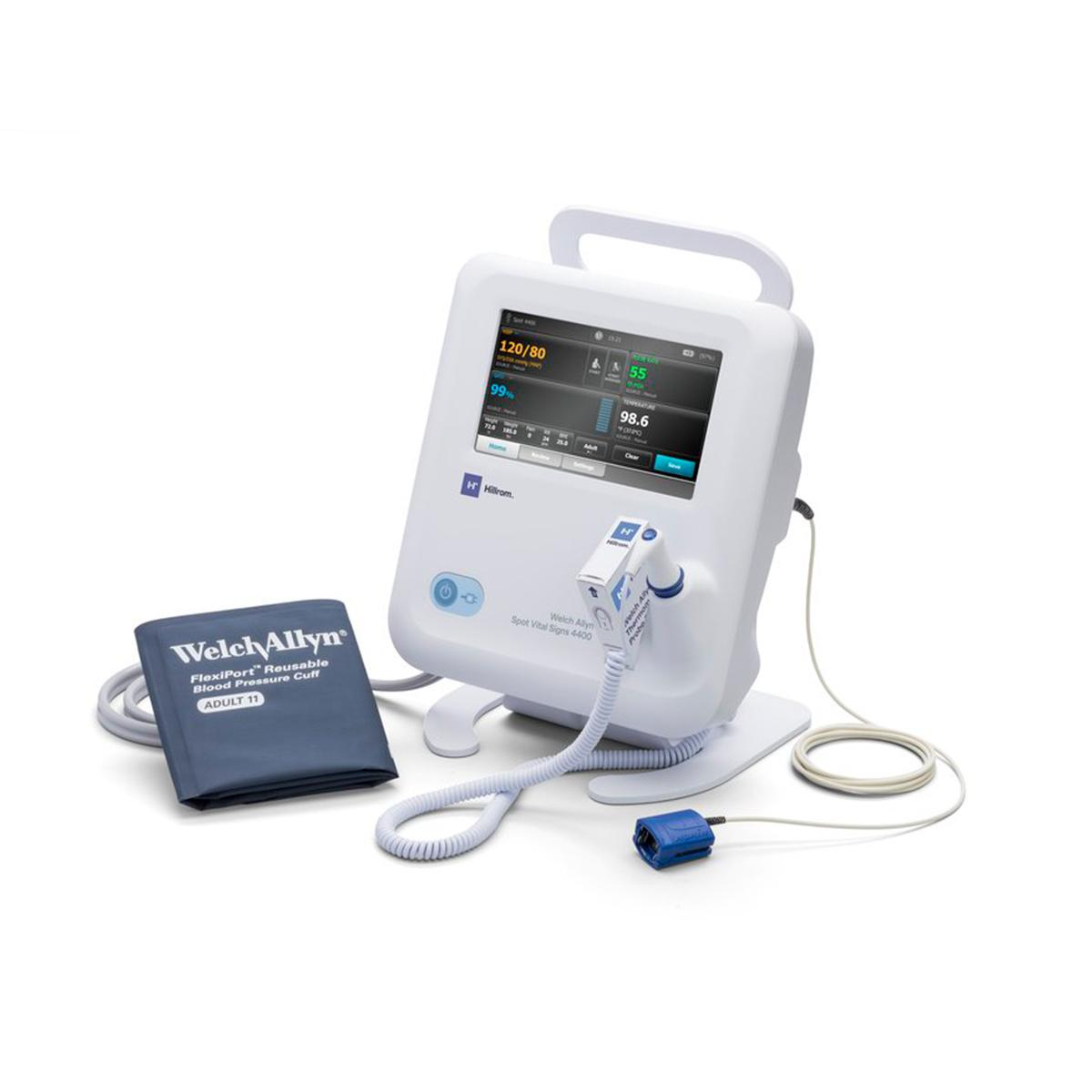 A left-facing view of Spot Vital Signs® 4400 Device and its accessories.