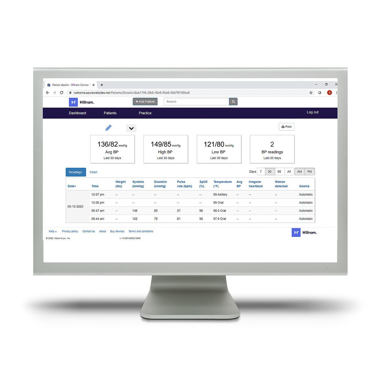 Clinicians access patient data via the web-based Hillrom™ Connex® Clinical Portal.