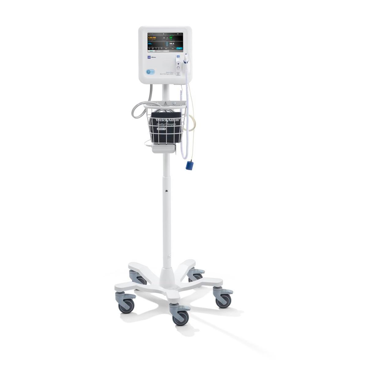 A Spot Vital Signs® 4400 Device on its white rolling stand, which includes a basket to hold the blood pressure cuff attachment.