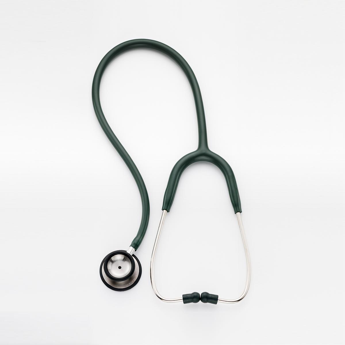 プロフェッショナル(成人用)聴診器の上部図、グリーン