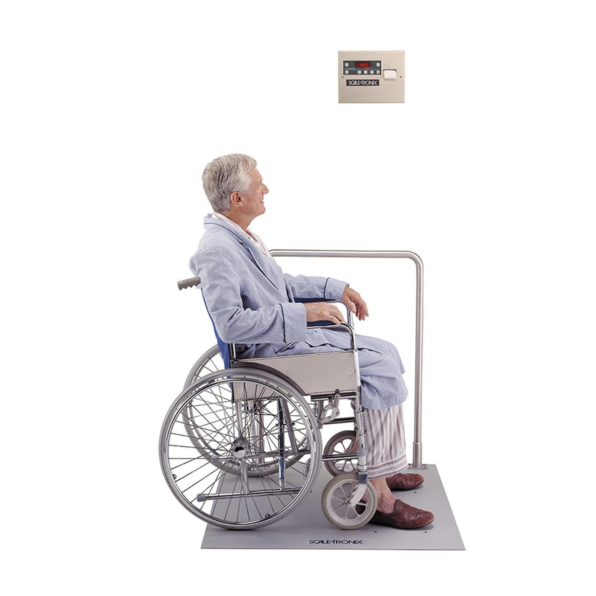 Patient in wheelchair on Scale-Tronix In-floor Scale