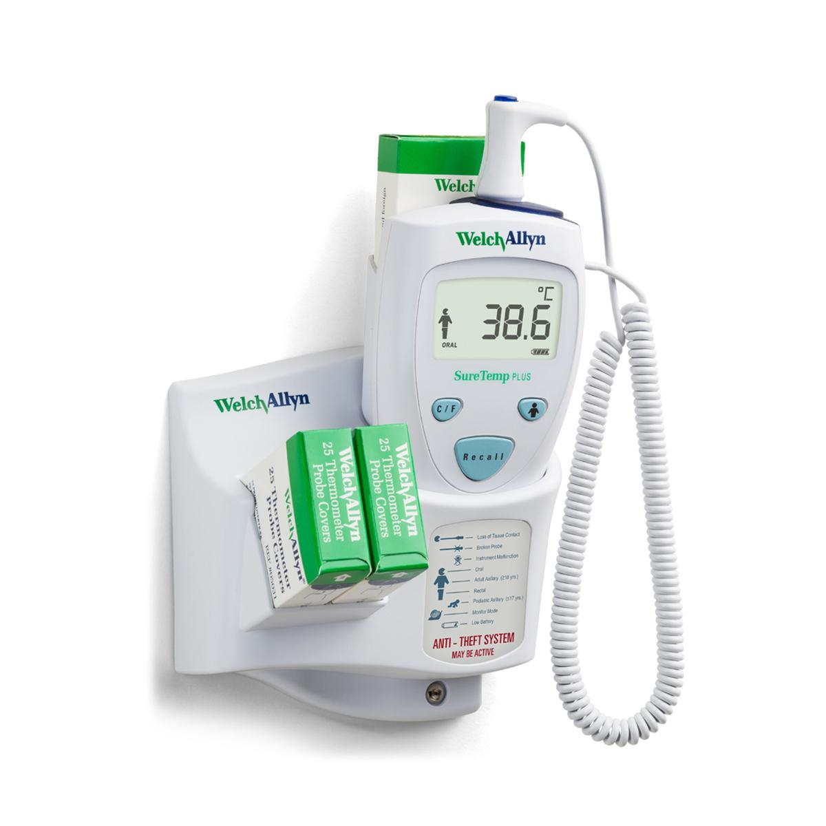 SureTemp Plus 690 Thermometer on wall mount, Celsius reading shown