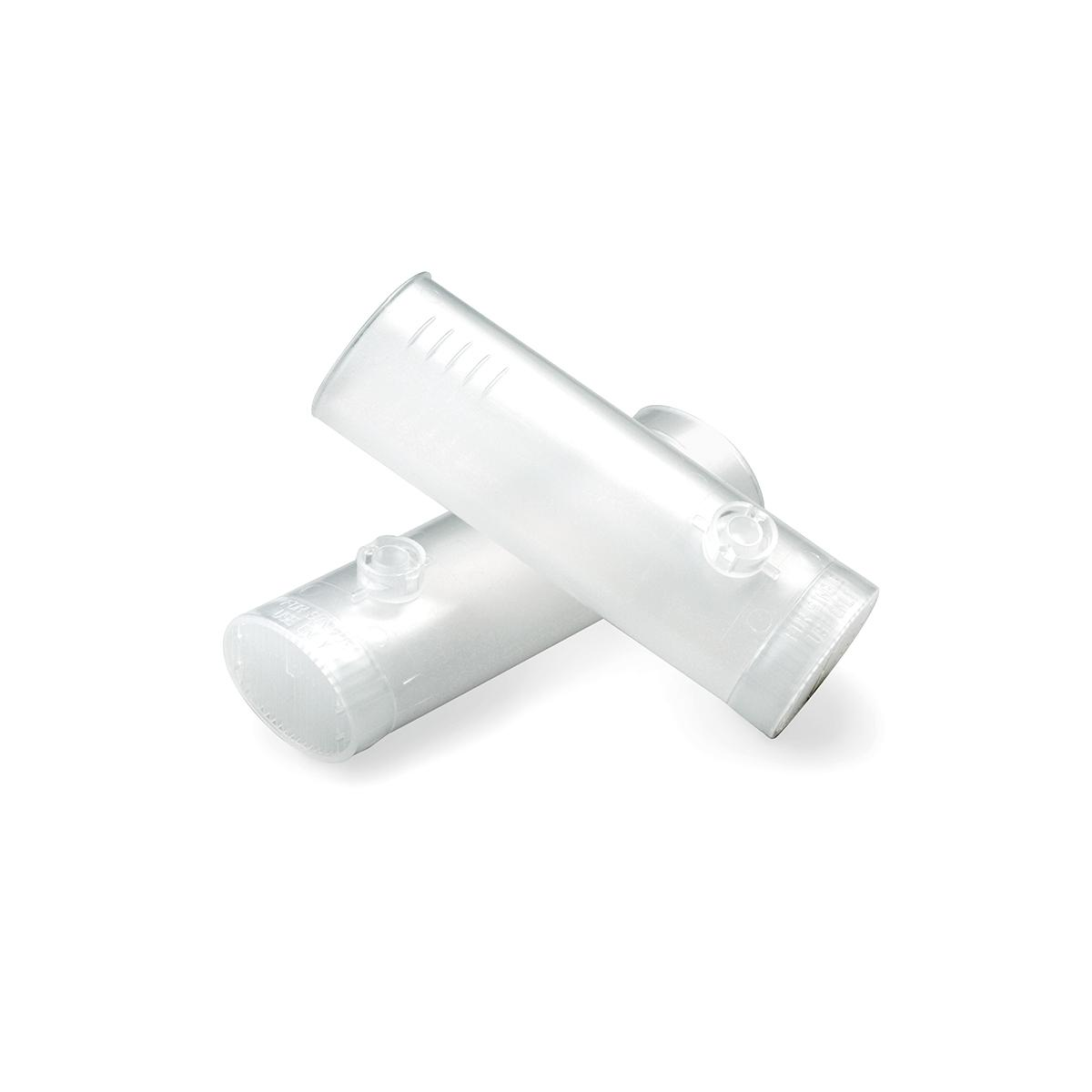 Clear plastic, cylindrical, disposable flow transducers for the Welch Allyn SpiroPerfect PC-Based Spirometer.
