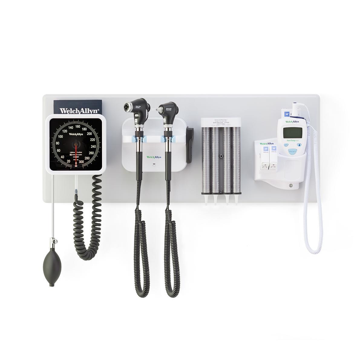 IWS, macroview plus otoscope, panoptic plus ophthalmoscope, suretemp thermometer