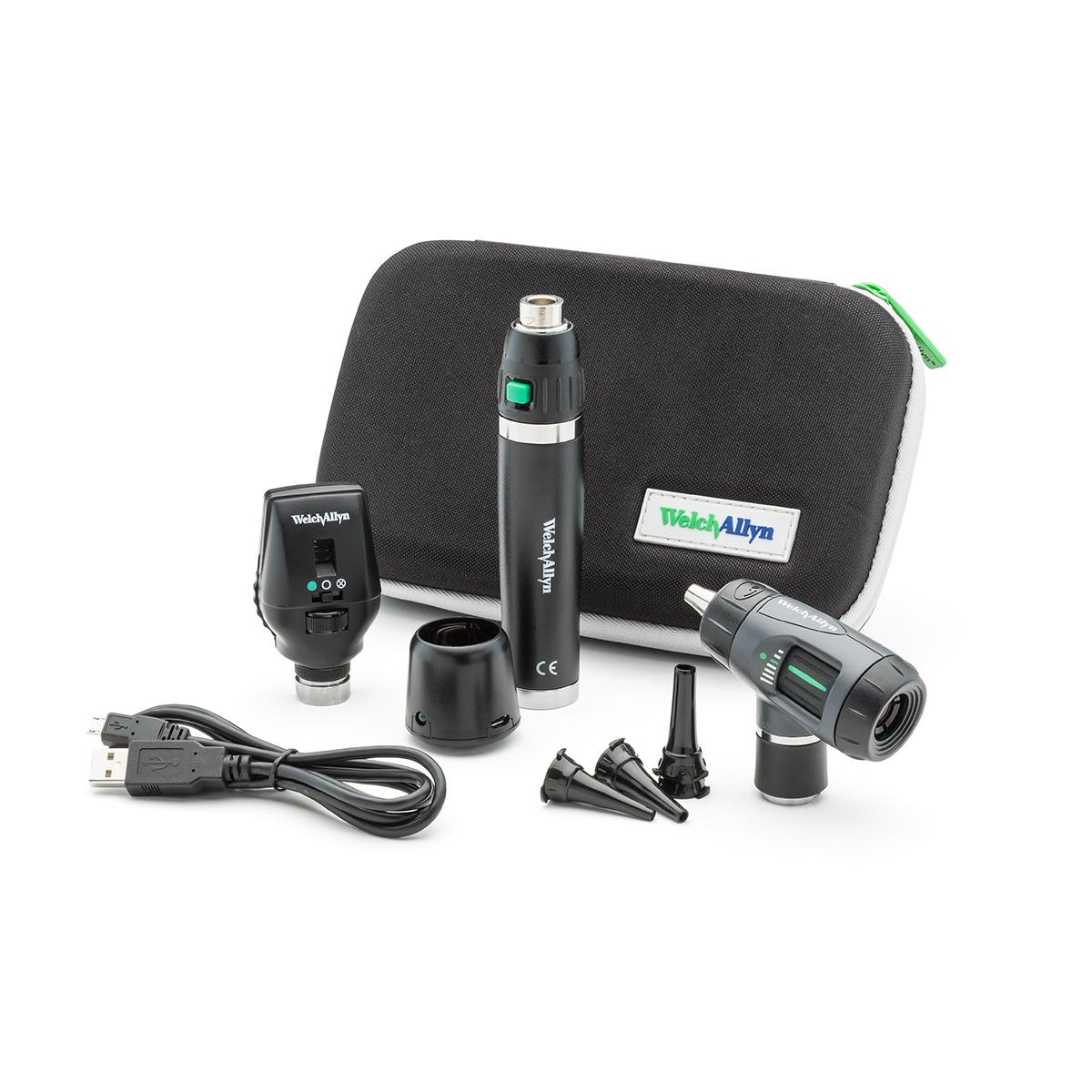 A Welch Allyn 97200-MSL Diagnostic Set, including otoscope, ophthalmoscope, handle, USB charger and zippered carry case.