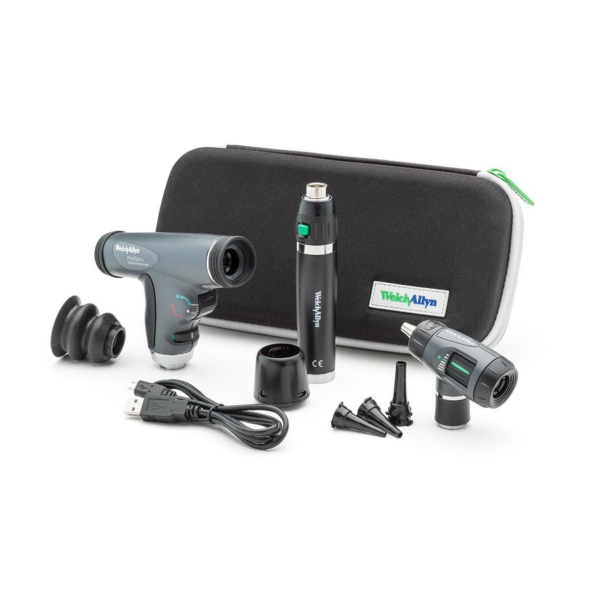A Welch Allyn 97800-MSL Diagnostic Set, including otoscope, ophthalmoscope, handle, USB charger and zippered carry case.