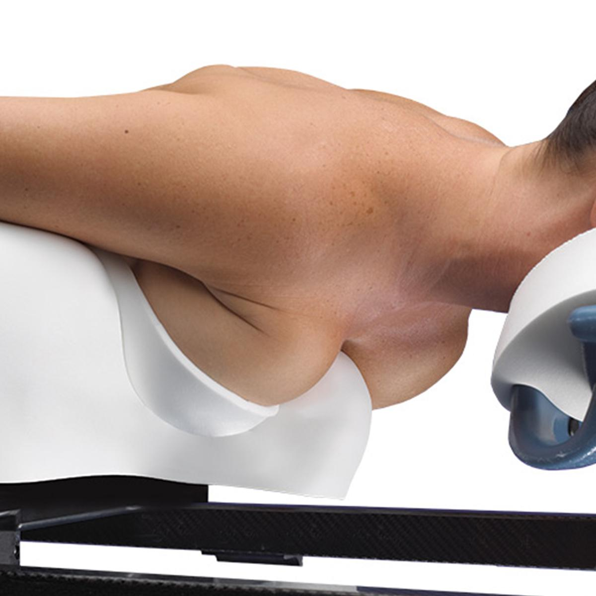 Contour™ Breast Positioner in use, patient prone