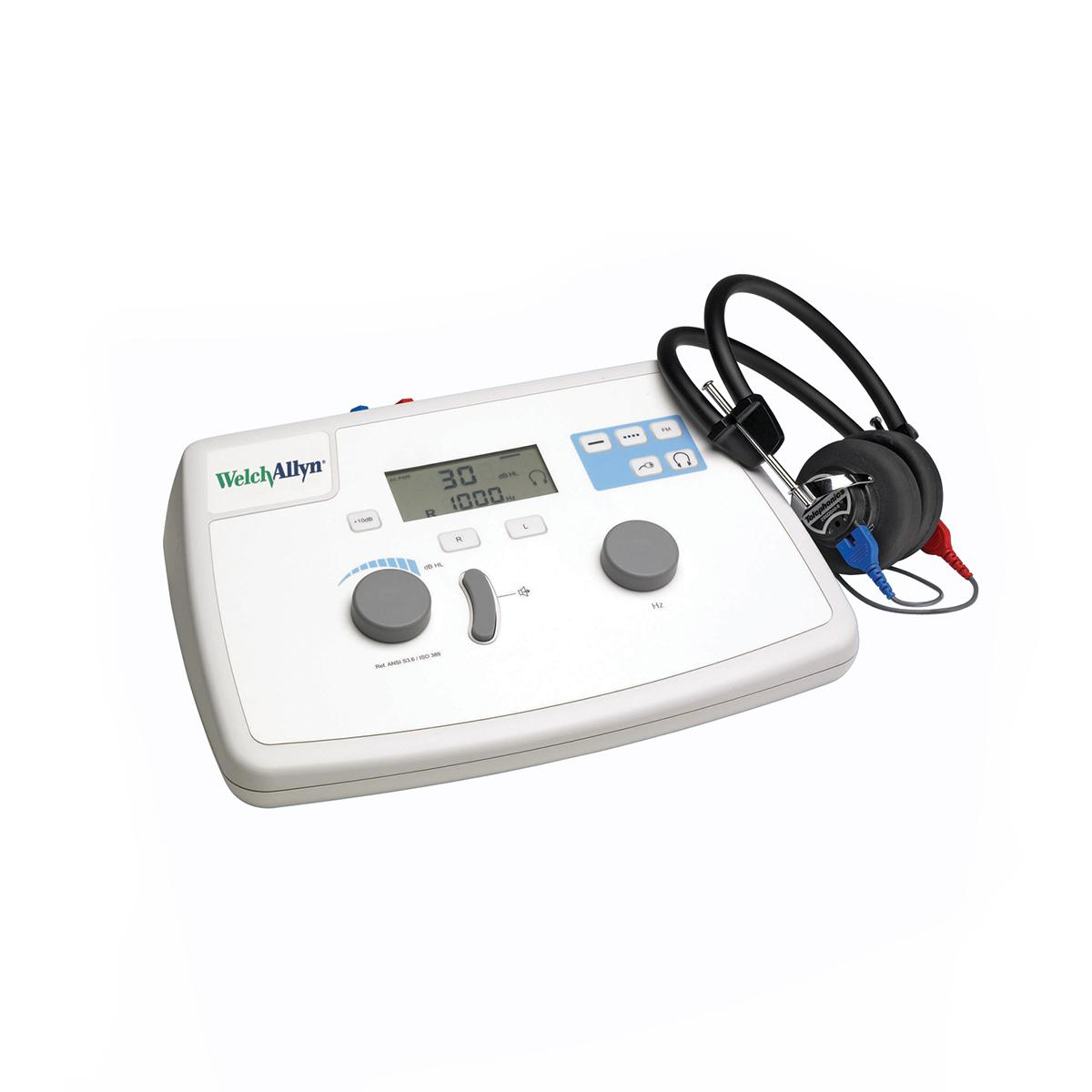 The table-top Welch Allyn AM 282 audiometer has knobs for frequency and intensity selection and an easy-to-read LCD screen.