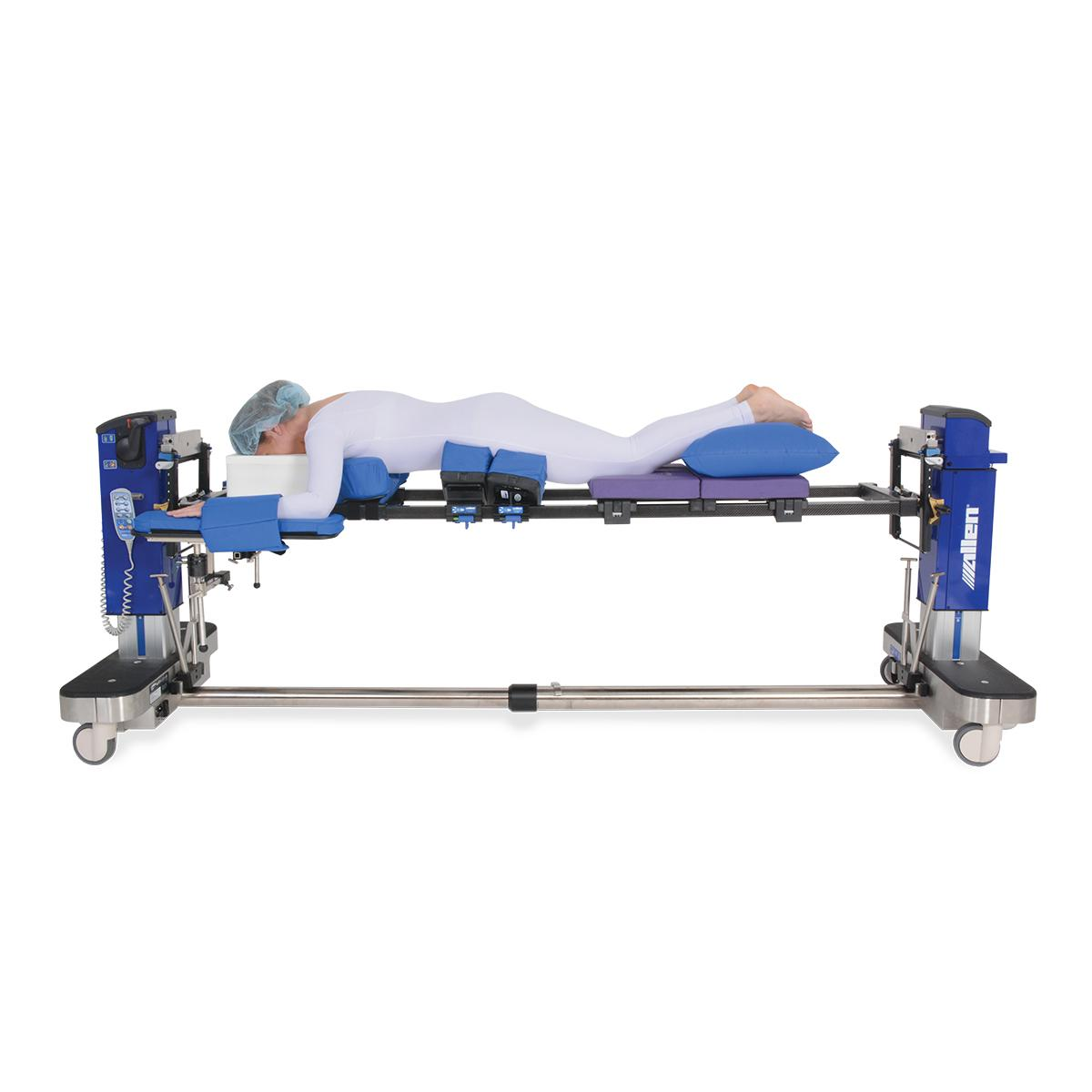 Advance Table Pinless H-Bracket, with patient, wide-shot