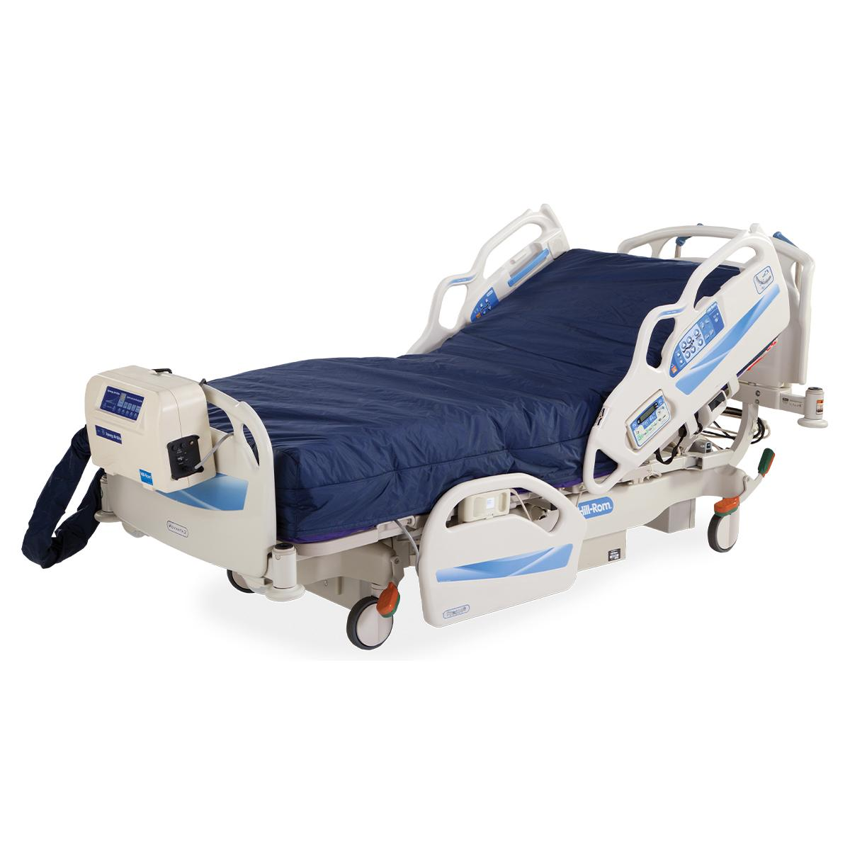 Advanta 2 Med Surg Bed, 3/4 view, right side, shown with Synergy Air Elite surface