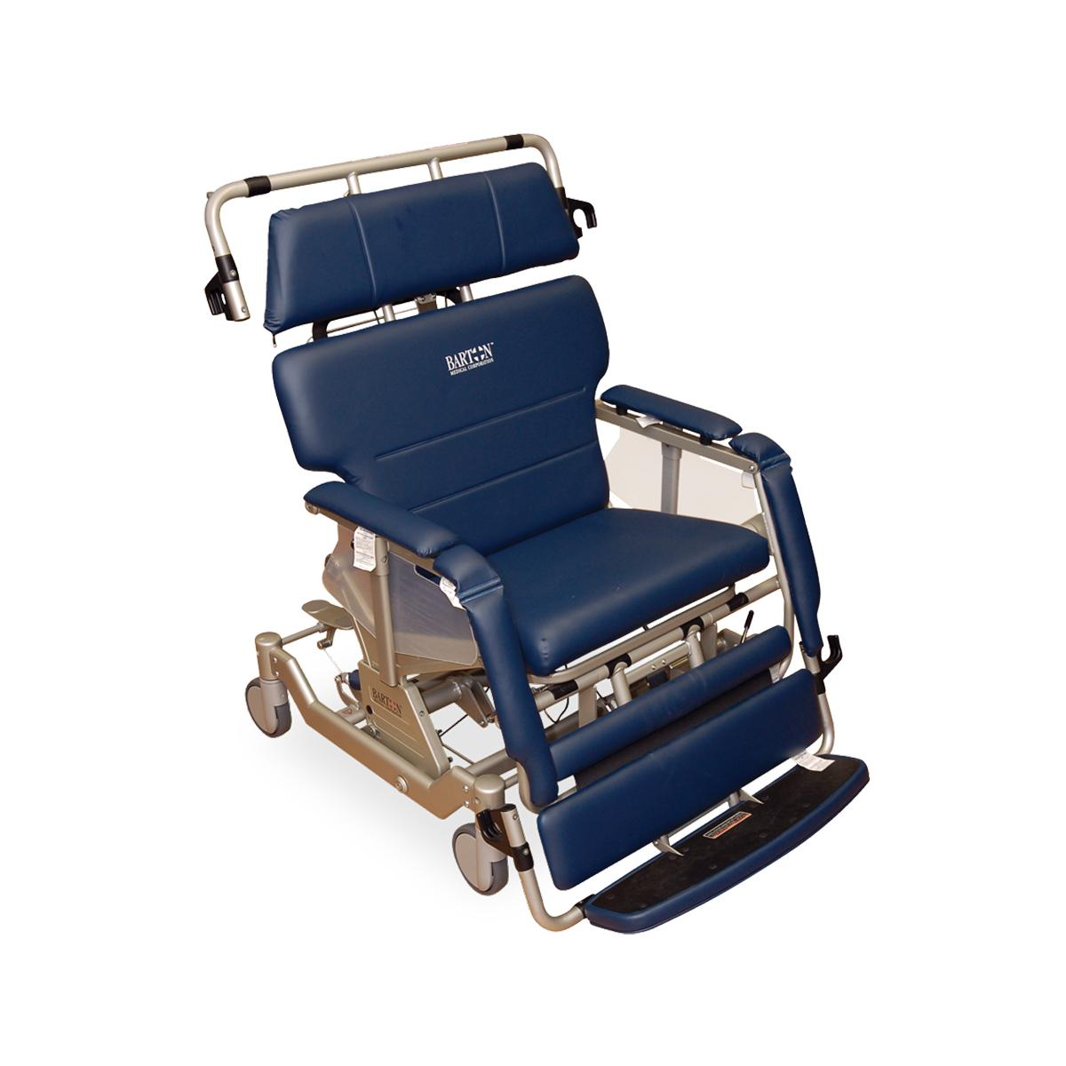 Barton Transfer Chair, blue, upright position, 3/4 view