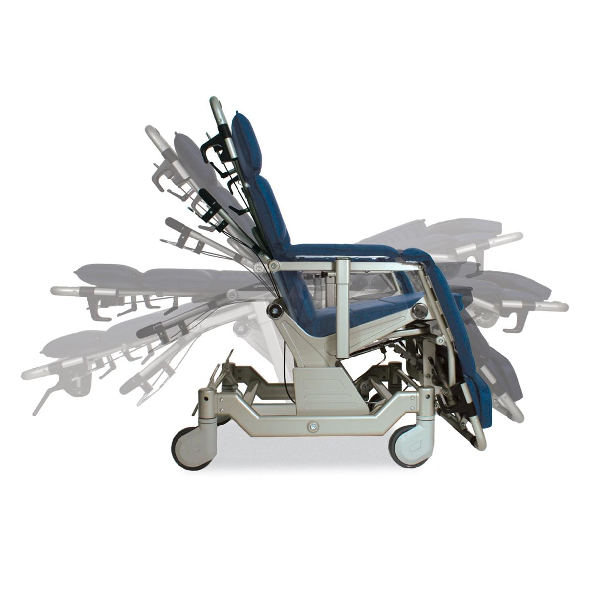 Barton Transfer Chair, blue, side shot, right-facing, demonstrating range of motion