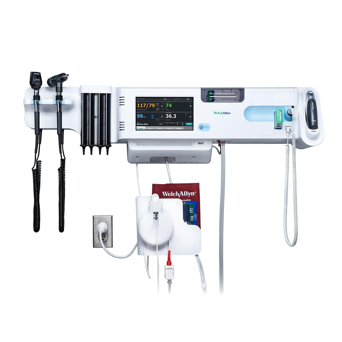 Connex Integrated Wall System, front view, includes both SureTemp oral thermometer and Braun ear thermometer