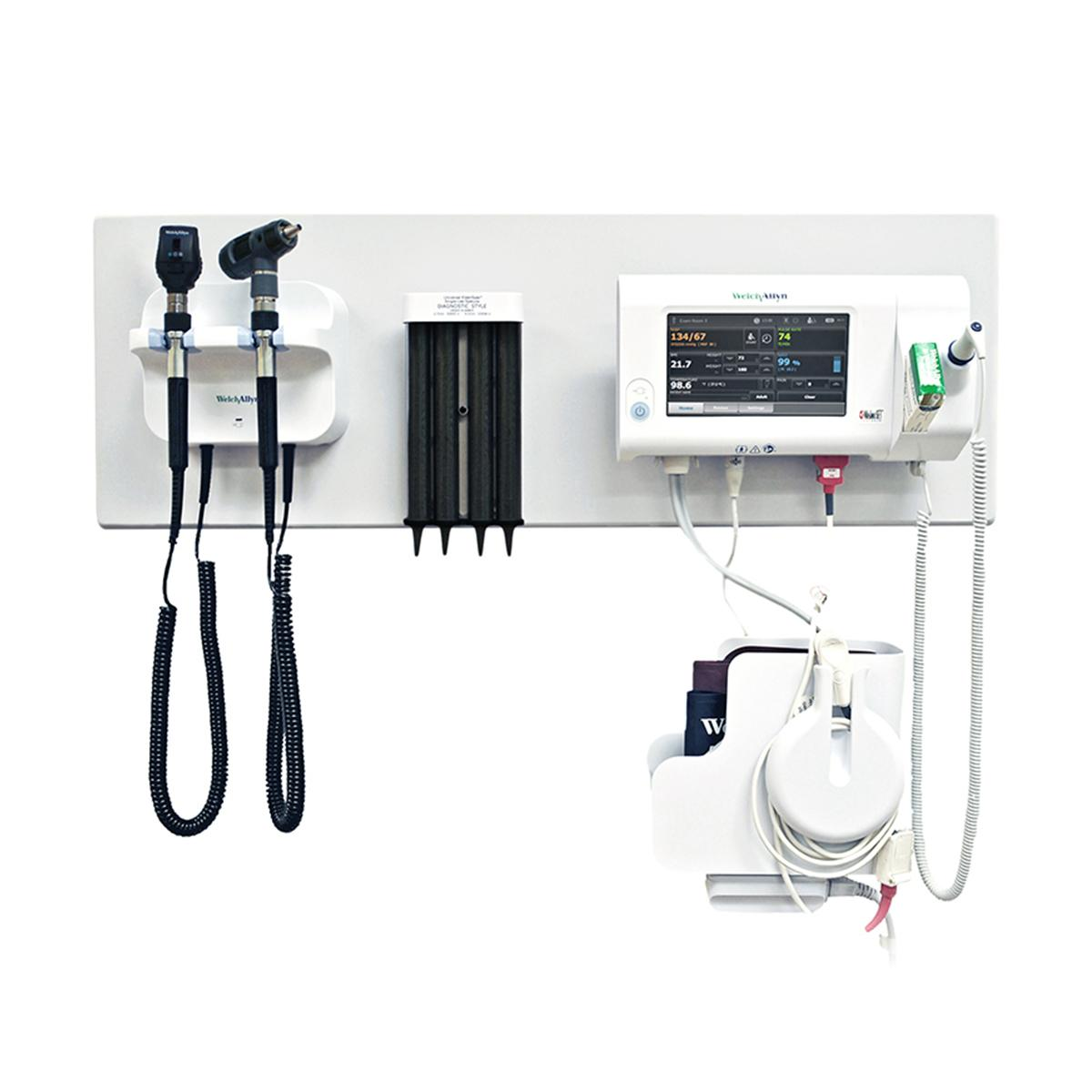 777 Integrated Wall System with otoscope, ophthalmoscope, probe covers and Connex Spot Monitor vital signs device