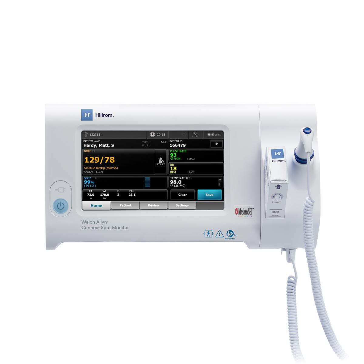Connex Spot Monitor straight on view with Braun PRO 6000 Ear Thermometer
