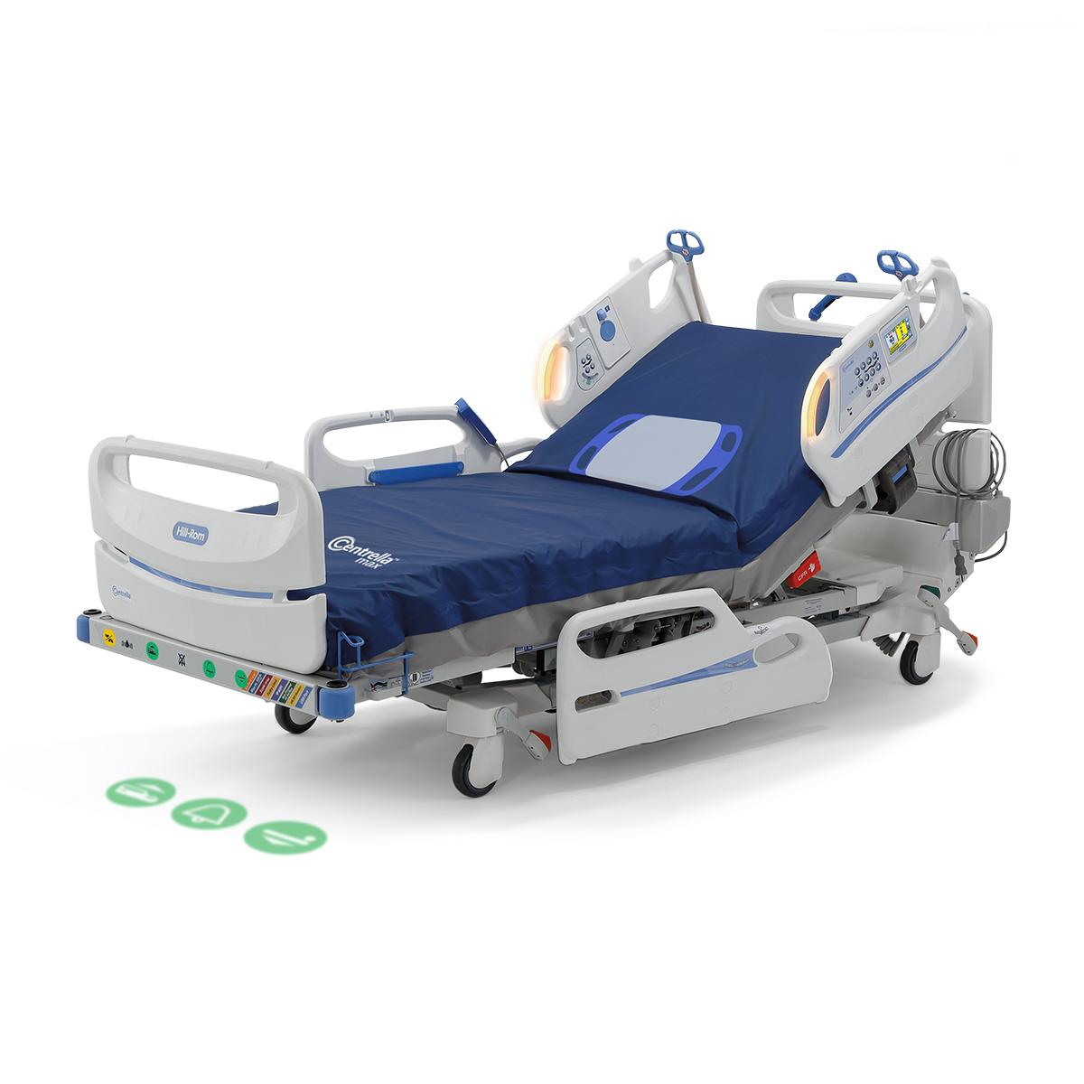 Centrella Smart+ Bed with EarlySense monitoring, right side view, displaying yellow alert lights