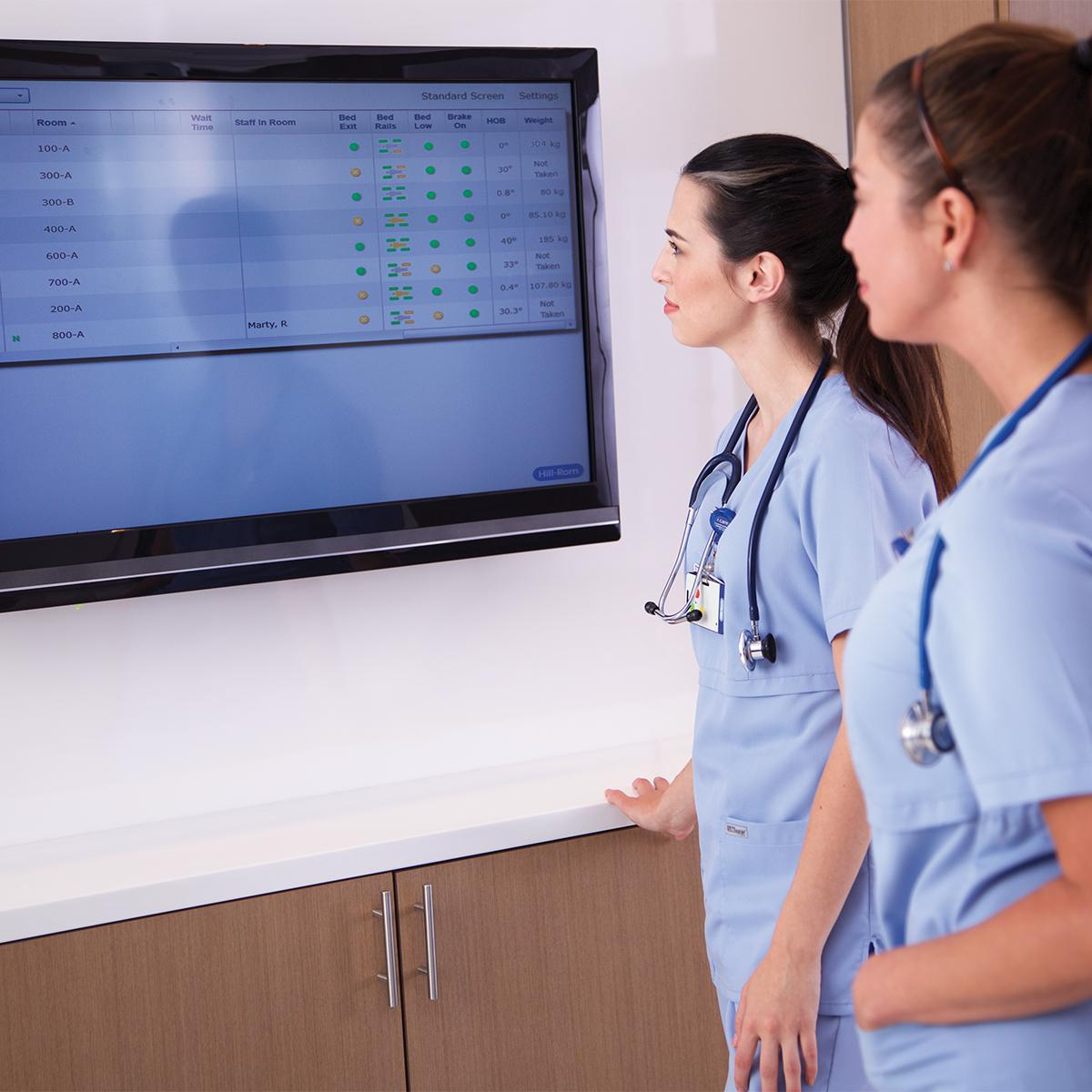 Two clinicians in blue scrubs review patient status data on a large screen in a hospital hallway