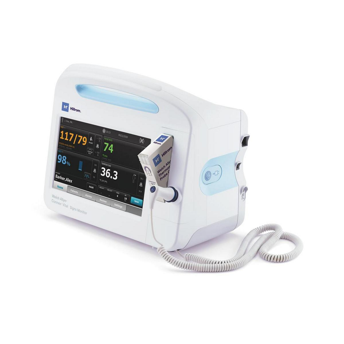 The Welch Allyn® Connex® Vital Signs Monitor is facing left, featuring a screen with a full set of patient vitals.