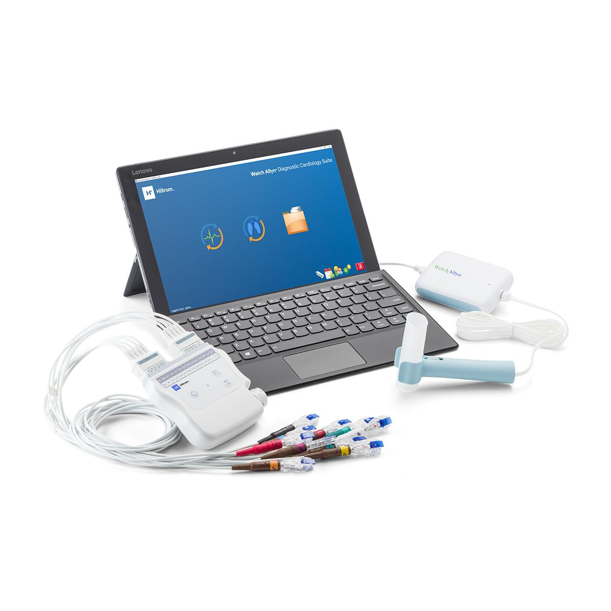 The Welch Allyn Diagnostic Cardiology Suite, with its ECG and Spirometry attachments, connected by USB to a laptop.