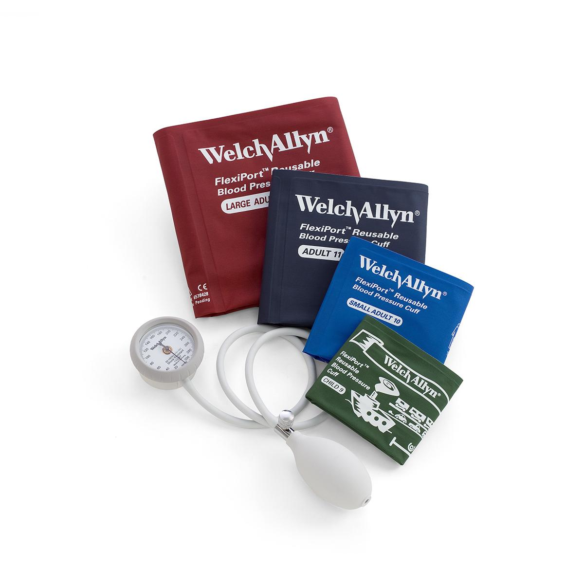 A Welch Allyn D244 aneroid with compatible Welch Allyn FlexiPort blood pressure cuffs, shown in various sizes and colors