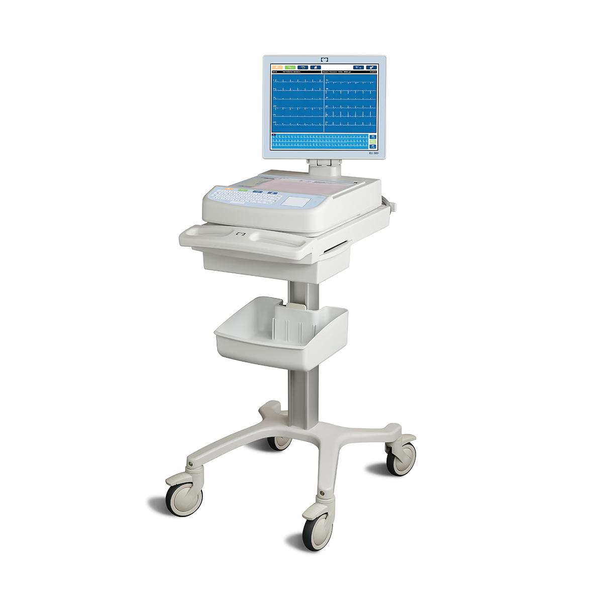 ELI 380 Resting Electrocardiograph, 3/4 view on rolling stand