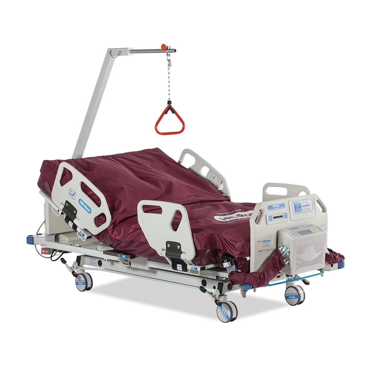 Excel Care ES Bariatric Hospital Bed, 3/4 view, head of bed raised with trapeze