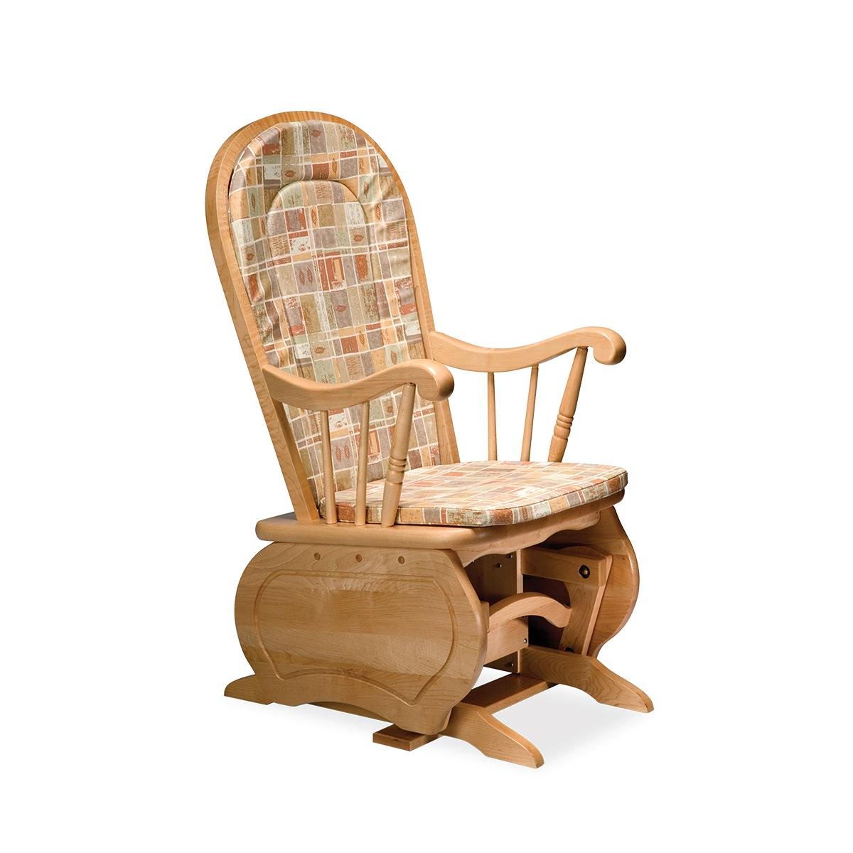 Perinatal Furniture, glider with cushions, rounded back, 3/4 view