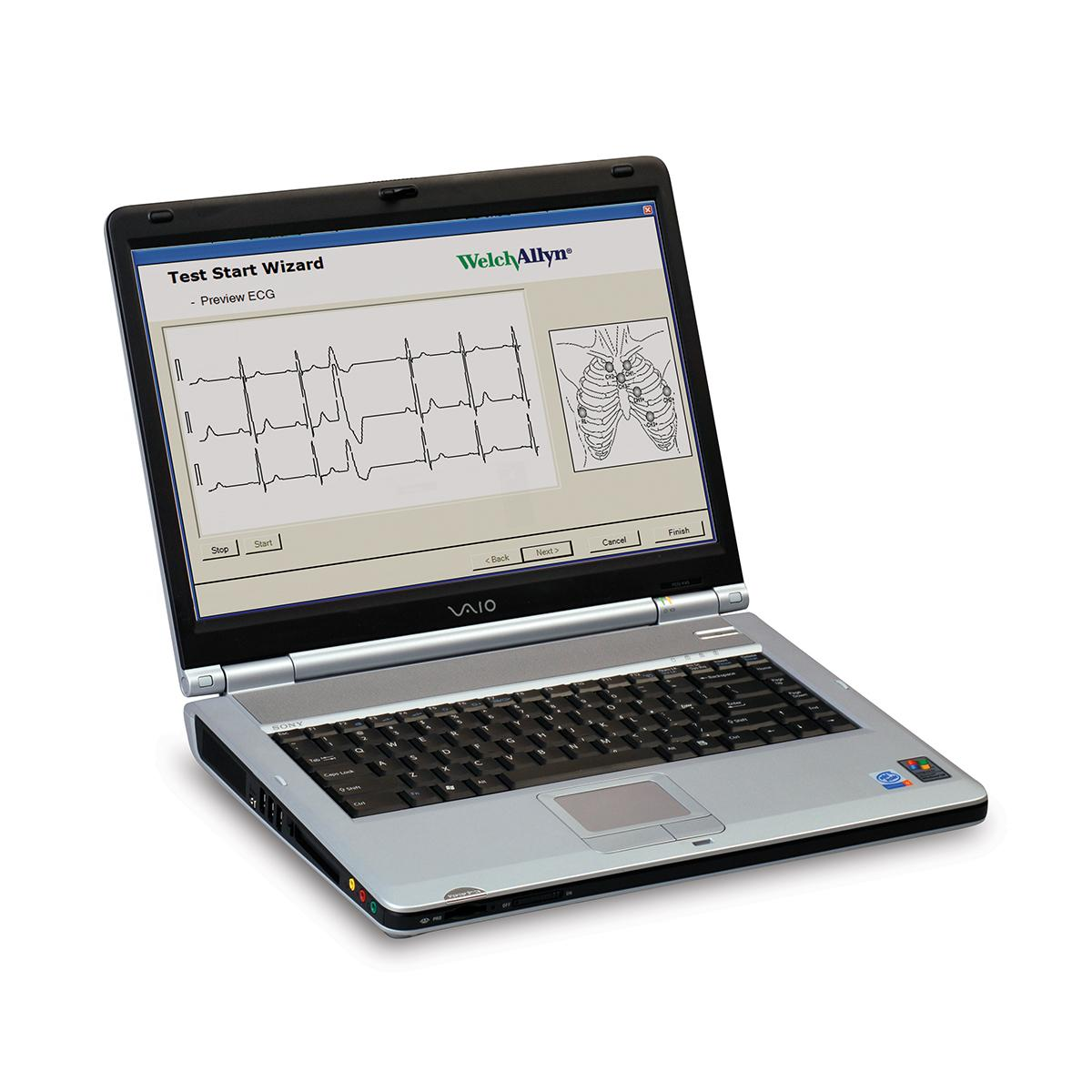 Expert Holter Software PCH-200 on laptop computer