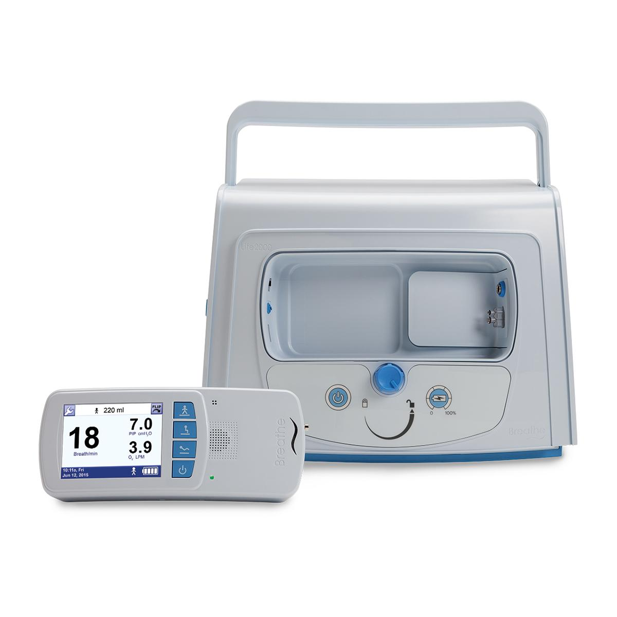The Hillrom™ Life2000 System's compact compressor and lightweight, wearable ventilator with bright display screen are shown.