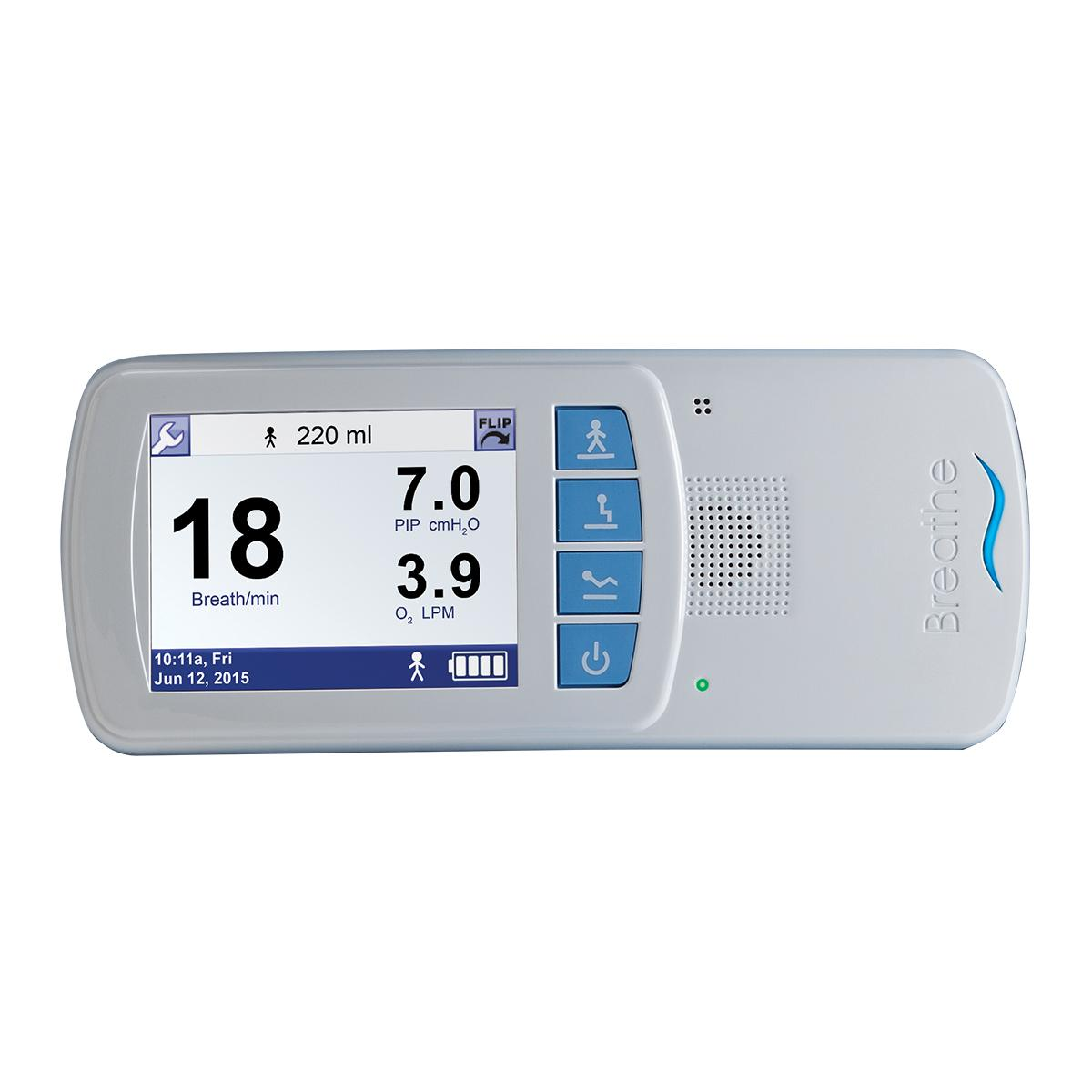 Hillrom's Life2000 Ventilator shows oxygen flow rate, peak inspiratory pressure, and breath rate.
