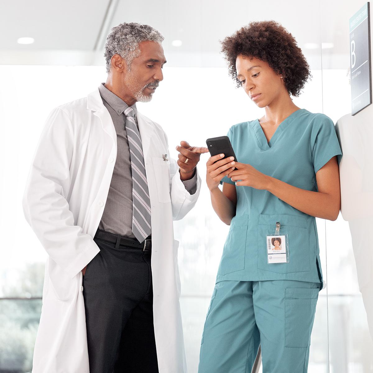 Nurse and clinician using a smartphone