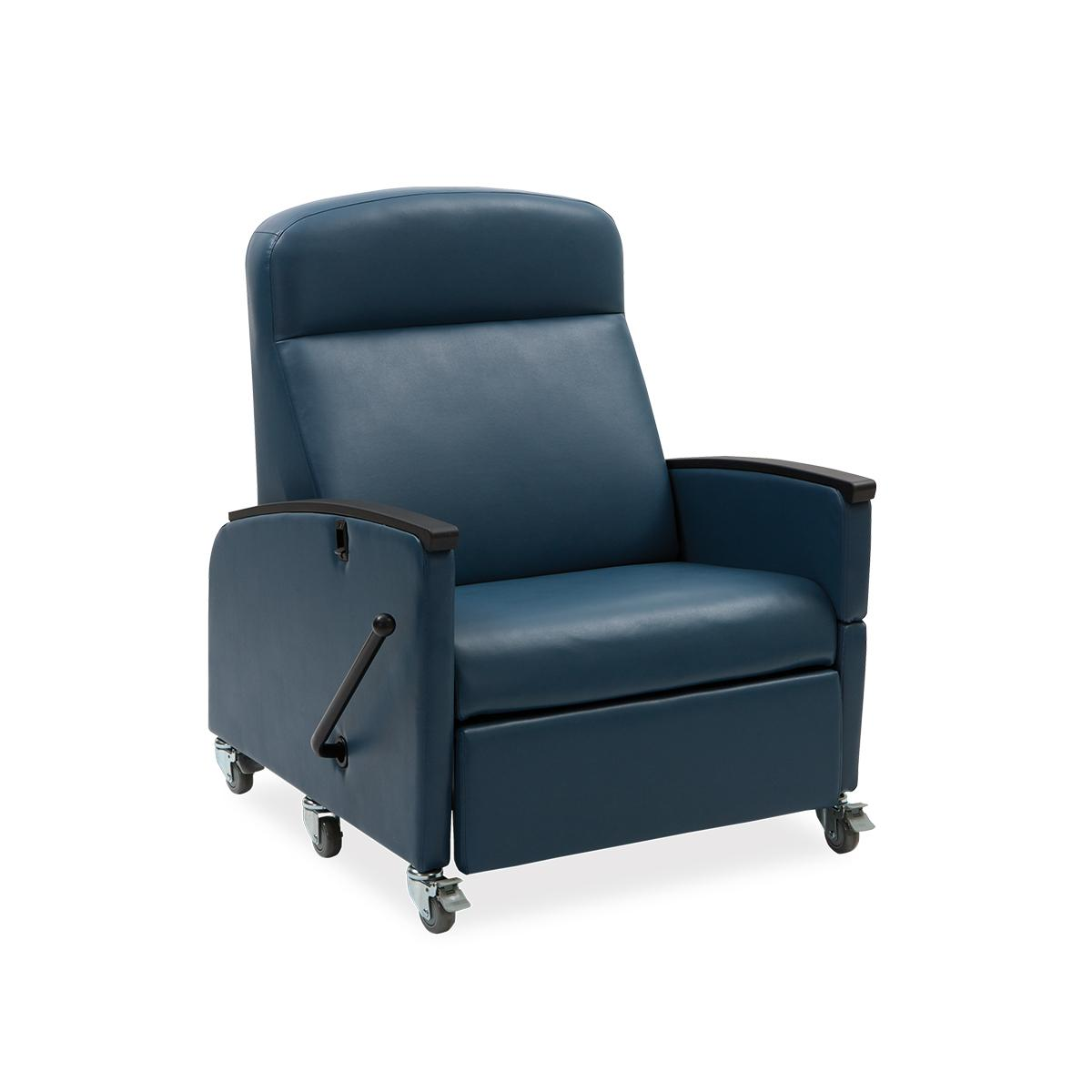 Art of Care Manual Bariatric Recliner, navy, 3/4 view