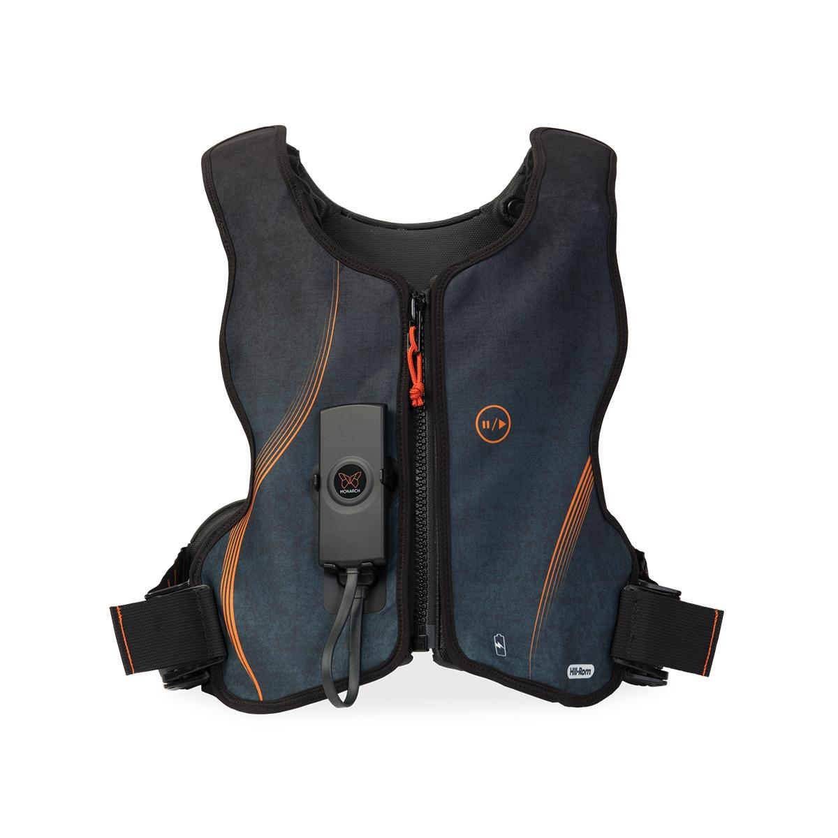 The Monarch® System's sportswear-inspired design features vest shell color and pattern options. This example shows the Graphite Orange vest shell.