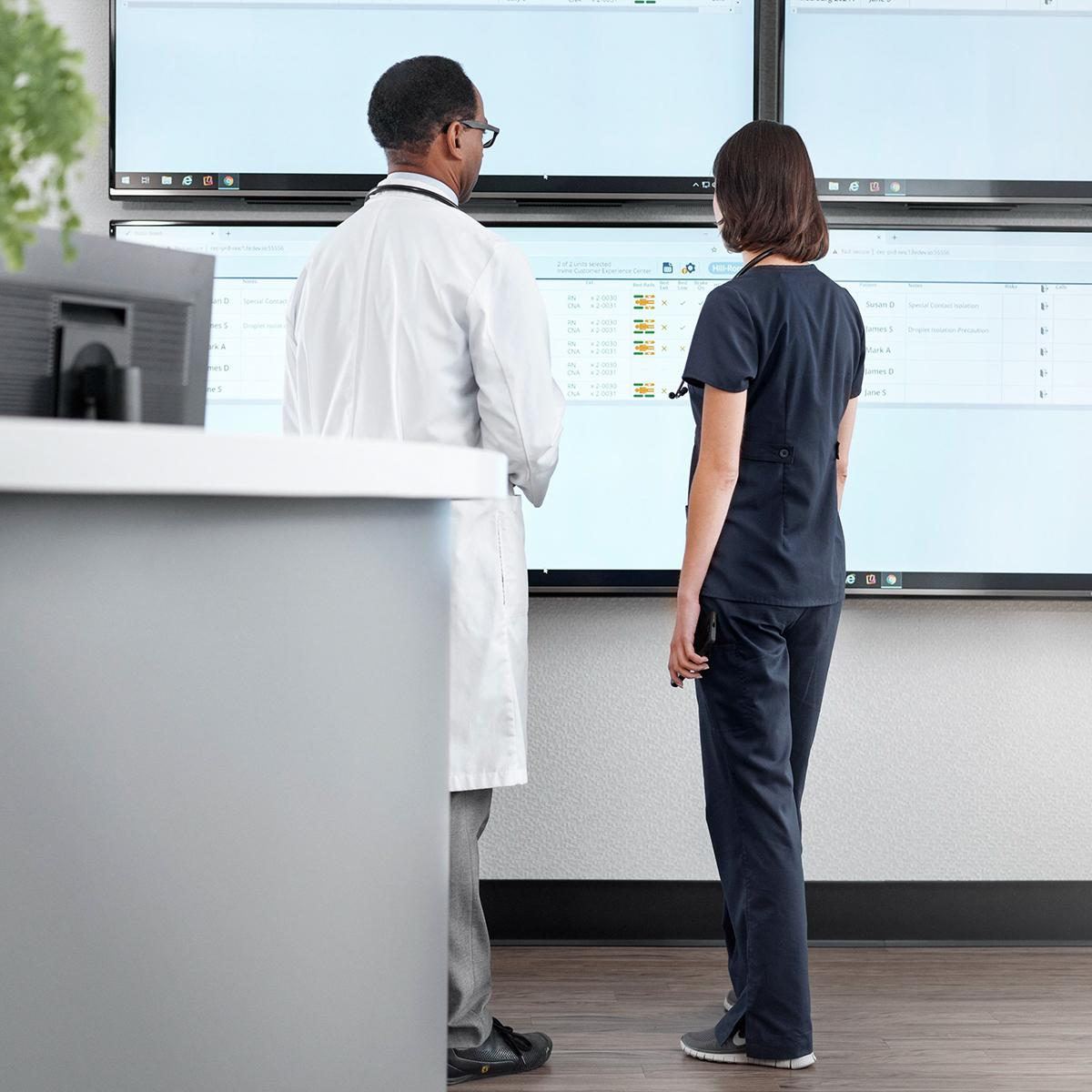 Nurse and physician looking at real-time patient information on the Voalte® Status board