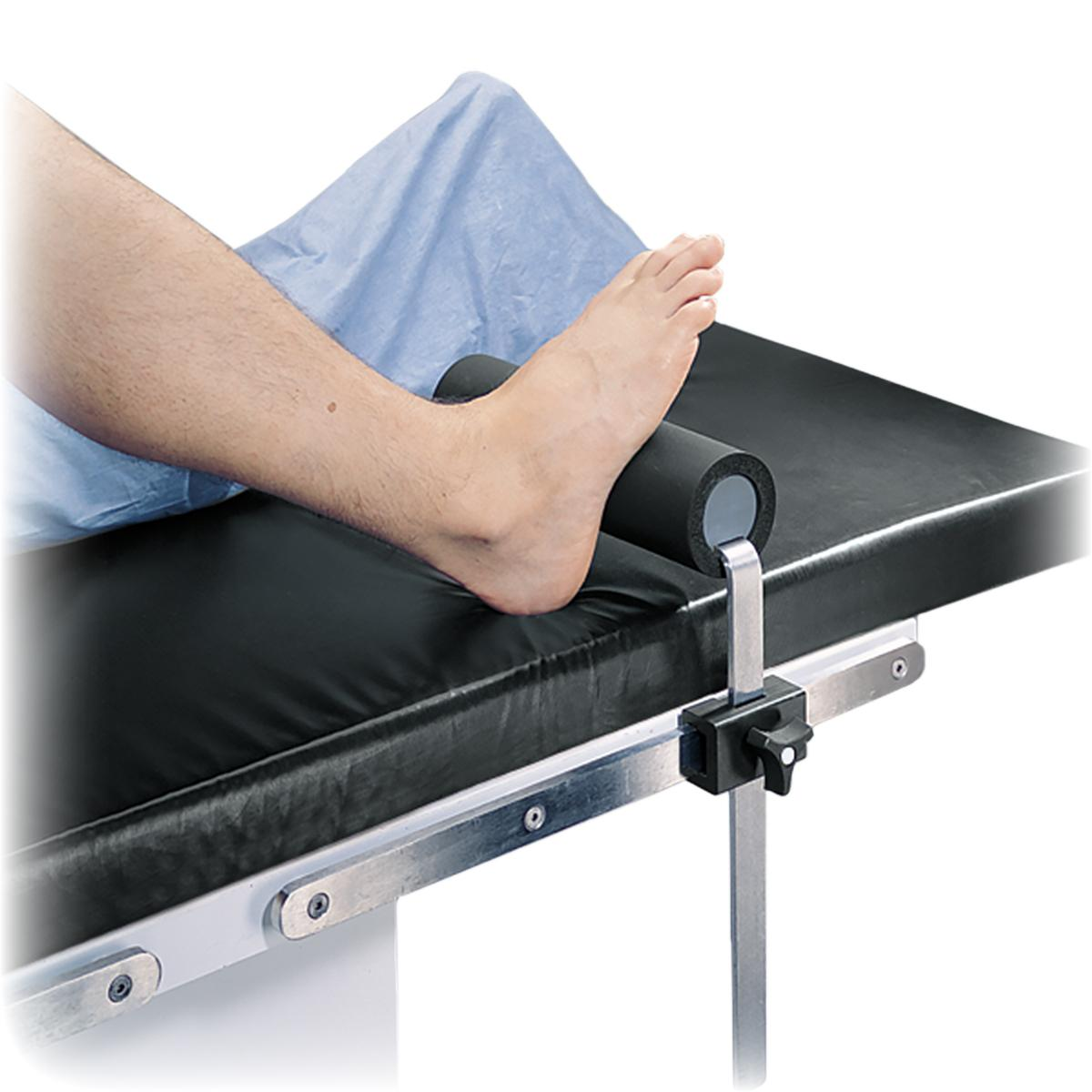 Total Knee Stabilizer, #O-TKS, installed on OR table with patient foot resting