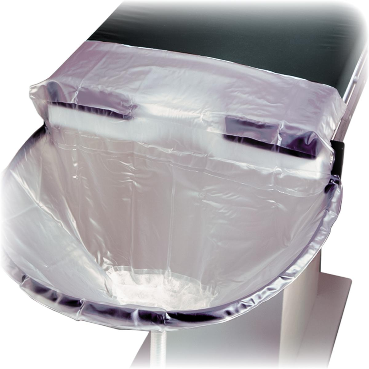 Uro Catcher System installed on OR table with bag