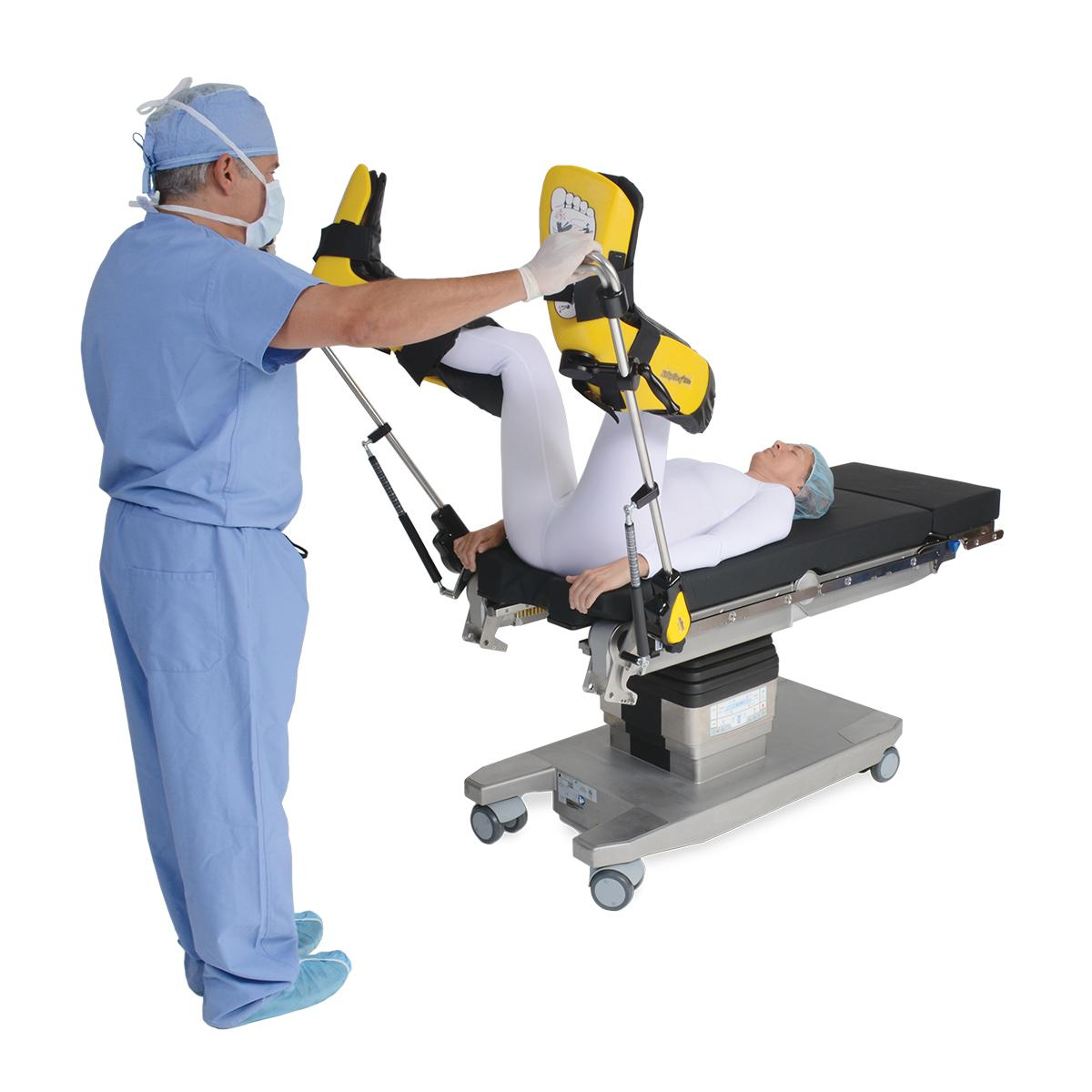 Yellofins Stirrups with lift-assist, with clinician and patient in lithotomy, #O-YFASI