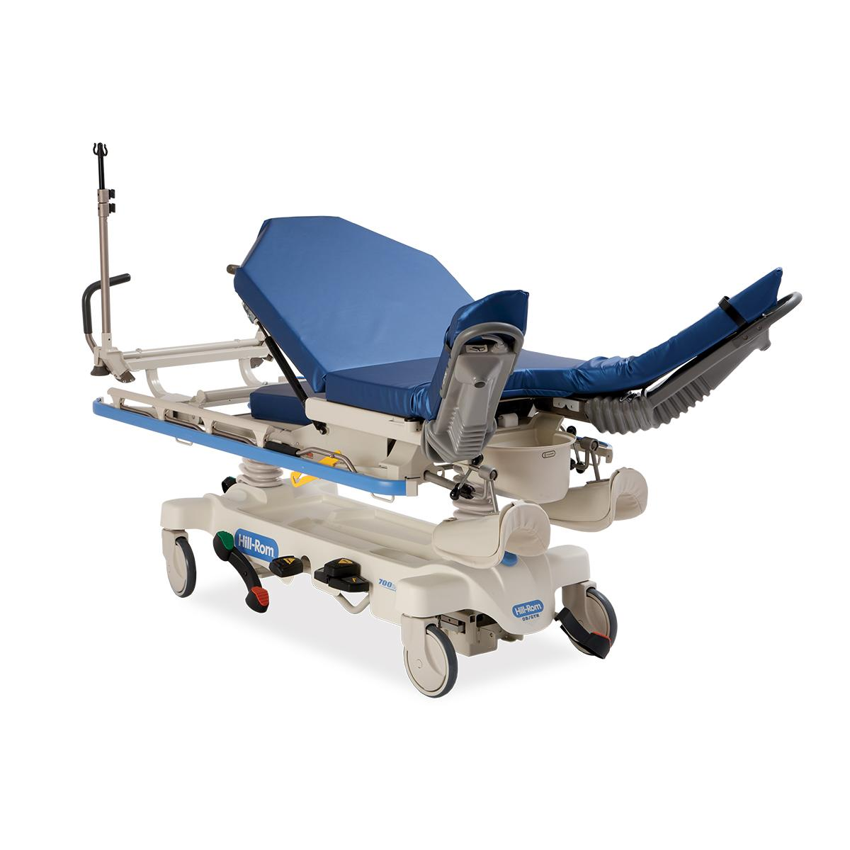 Hillrom™ OB/GYN Stretcher, 3/4 view, leg rest extended