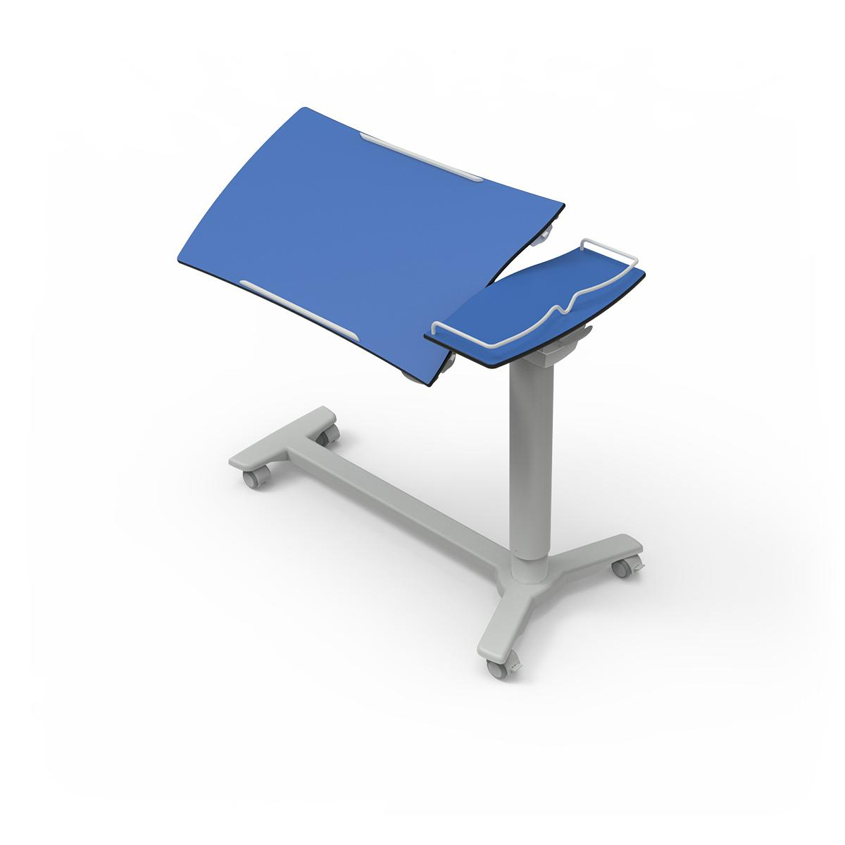 Overbed Table TA270 with h-shaped base and blue top