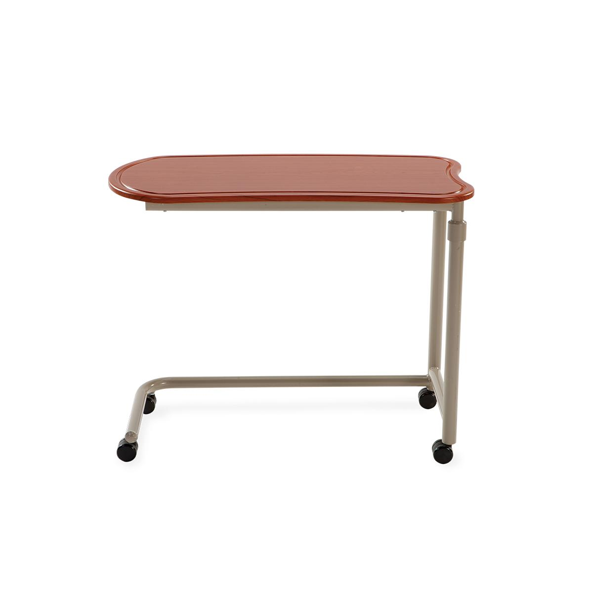 Art of Care Overbed Tables, red table top, underbed portion left facing